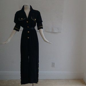 Other - Gold Button Black Evening Romper